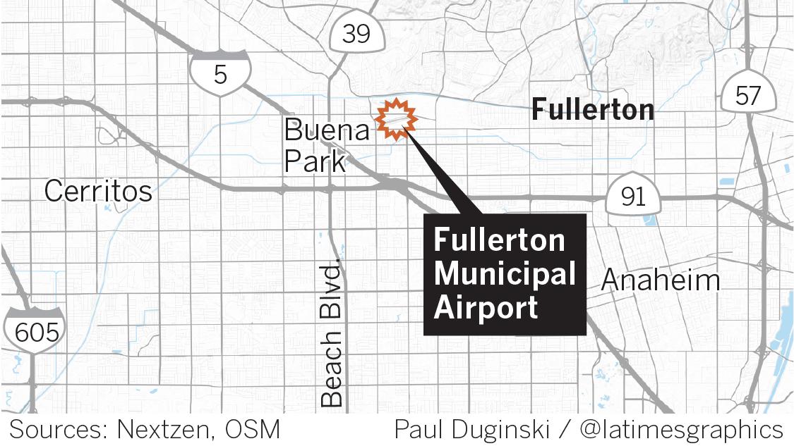 Pilot killed in small-plane crash at Fullerton Municipal Airport