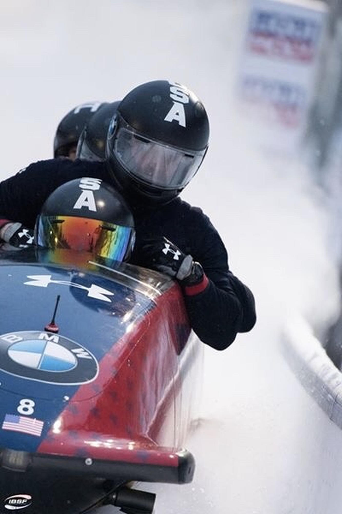 "Josh Williamson, dressed in black, did not step foot in a bobsled until winning the ""Next Olympic Hopeful'' competition 2 years ago."