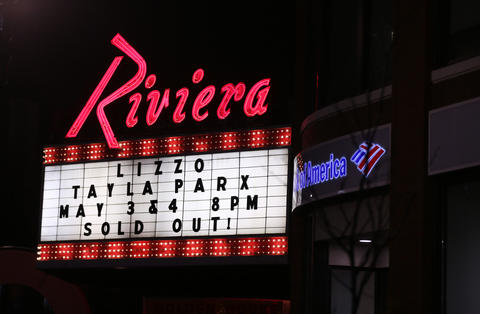 Exterior of the Riviera Theatre, where Lizzo performed in Chicago on Friday, May 3, 2019. (Chris Sweda/Chicago Tribune)