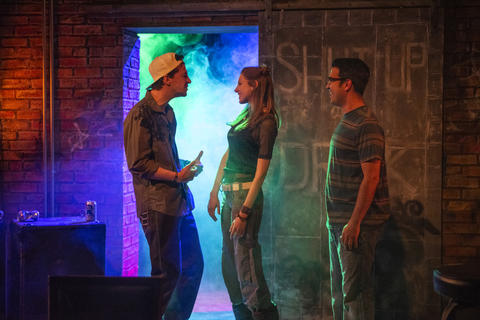 Henry Greenberg, Lindsay Stock and Christopher Acevedo inThe Undeniable Sound of Right NowMay 9-June 16 at the Raven Theatre.