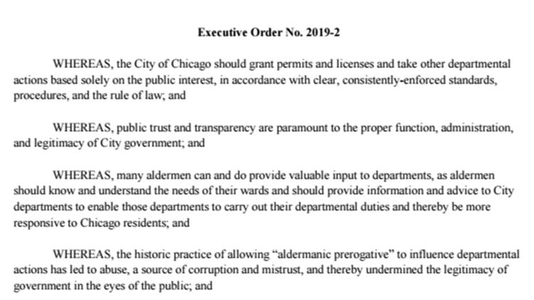 Read the executive order Mayor Lori Lightfoot signed regarding aldermanic privilege