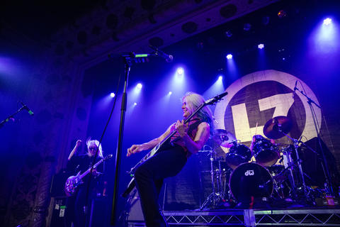 L7's Donita Sparks performs withher bandmates at the Metro on May 21, 2019.