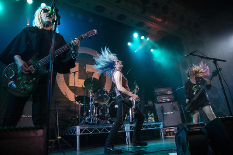 L7's Suzi Gardner, left, Donita Sparks, center, and Jennifer Finch perform at the Metro on May 21, 2019, in Chicago.