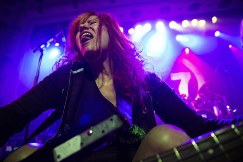 L7 bass player Jennifer Finch performs with her band at the Metro on May 21, 2019.
