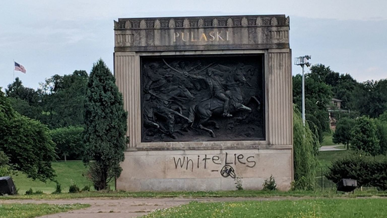 Graffiti appears on Pulaski Monument in Patterson Park, group says