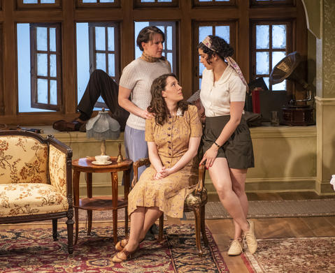 Marika Mashburn, Ella Pennington and Krystal Ortiz in Griffin Theatre Company's production ofFor Services Renderedat the Den Theatre through July 30.