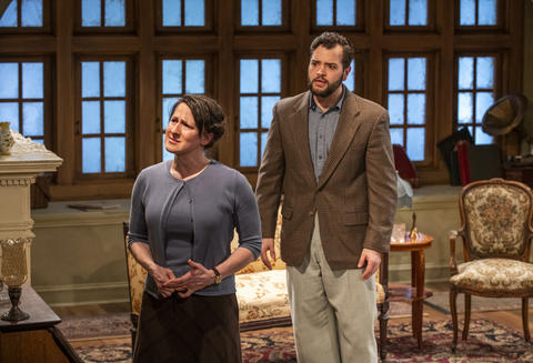 Marika Mashburn and Robert Quintanilla in Griffin Theatre Company'sproduction ofFor Services Renderedat the Den Theatre through July 30.
