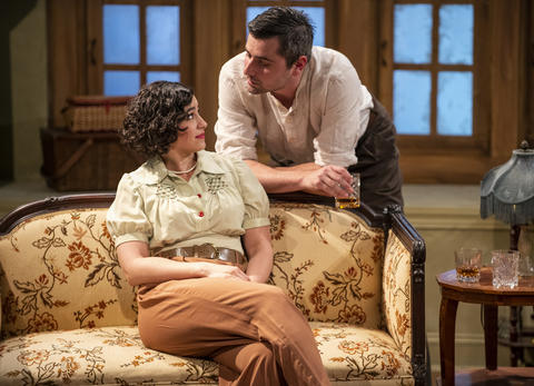 Krystal Ortiz and Matt Fletcher in Griffin Theatre Company's production ofFor Services Renderedat the Den Theatre through July 30.