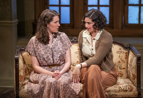 Ella Pennington and Krystal Ortiz in Griffin Theatre Company's production ofFor Services Renderedat the Den Theatre through July 30.