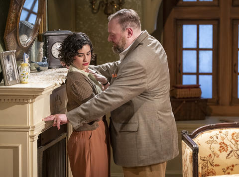 Krystal Ortiz and Matt Rockwood in Griffin Theatre Company's production ofFor Services Renderedat the Den Theatre through July 30.