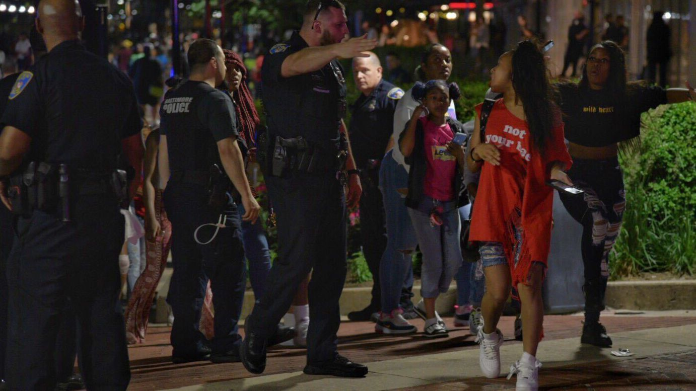 Crowds of youths draw police attention to Baltimore's Inner Harbor