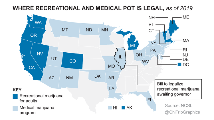 Where recreational and medical pot is legal