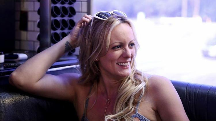 Stormy Daniels on her tour bus in 2018 during a run of shows at the Admiral Theatre in Chicago. (Chris Sweda/Chicago Tribune)