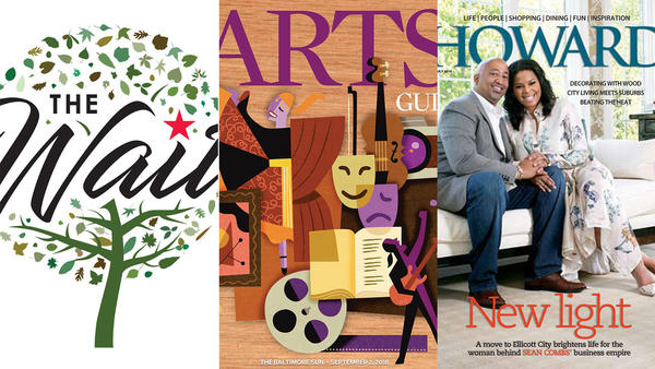 The wait logo, fall arts guide cover, and howard magazine cover