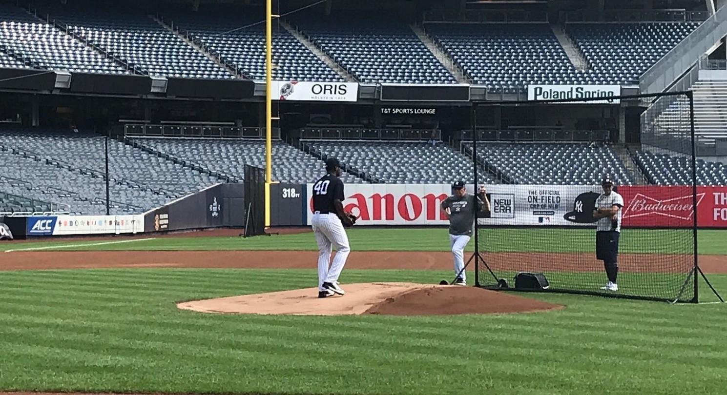 Luis Severino 'felt good' pitching off mound at Yankee Stadium in next step toward return