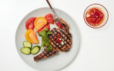 Grilled Lemongrass Pork Chops With Radish Nuoc Cham