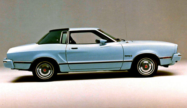 Built upon the spindly bones of the Pinto, this shrunken, malformed pony is instantly appalling to Mustang lovers. And, unfortunately, hugely popular with buyers stuck with serial fuel crises.