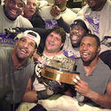 Ravens players celebrate Super Bowl berth