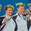 Michael Phelps, Ryan Lochte, Peter Vanderkaay and Klete Keller
