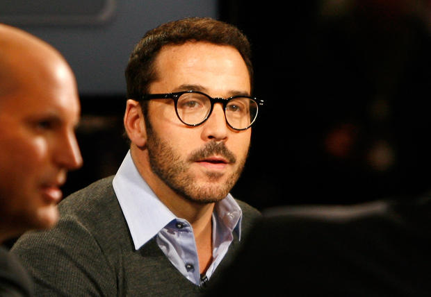 Actor Jeremy Piven speaks during an interview in the Super Bowl XLVII Media Center at the Ernest N. Morial Convention Center in New Orleans.