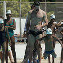 Michael Phelps coaches children in Brazil