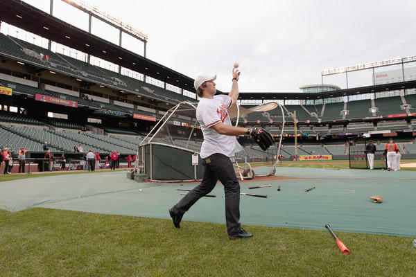 Alex Ovechkin warms up before throwing out the ceremonial first pitch.