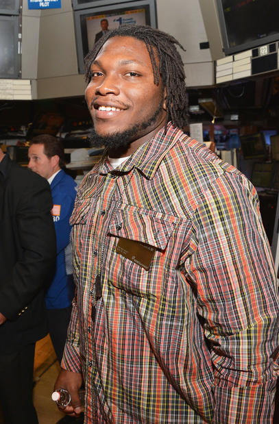 Courtney Upshaw visits the NYSE Trading Floor at New York Stock Exchange while in New York for the 2012 draft. The Ravens took the Alabama linebacker with the No. 32 overall pick (second round).