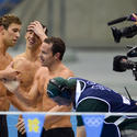 Matthew Grevers, Michael Phelps and Brendan Hansen