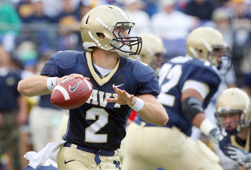 Navy quarterback Jarod Bryant looks to pass against Notre Dame Saturday at M&T Bank Stadium.