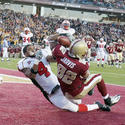 Boston College's Justin Jarvis scores a touchdown