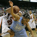 Marissa Coleman fights for a loose ball