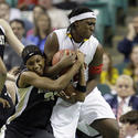 Lynetta Kizer fights for possession
