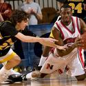 Towson's Brian Morris dives for the loose ball