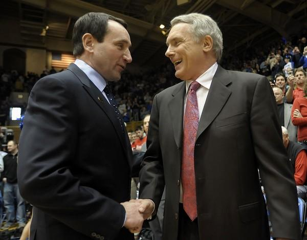Duke coach Mike Krzyzewski, left, greets Maryland coach Gary Williams. The Blue Devils routed the Terps, 77-56.