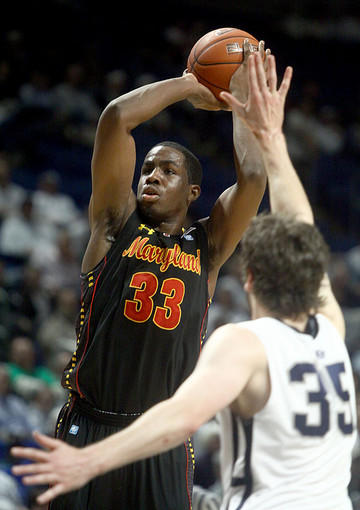 Maryland's Dino Gregory shoots over Penn State's Billy Oliver.