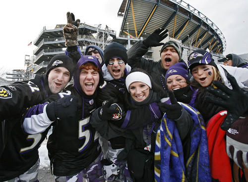 Ravens fans show their spirit before the AFC championship game at Heinz Field in Pittsburgh.