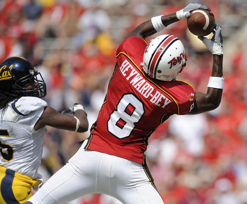 Terps wide receiver Darrius Heyward-Bey (8) catches a touchdown pass in the third quarter of Maryland's 35-27 victory over No. 23 California.