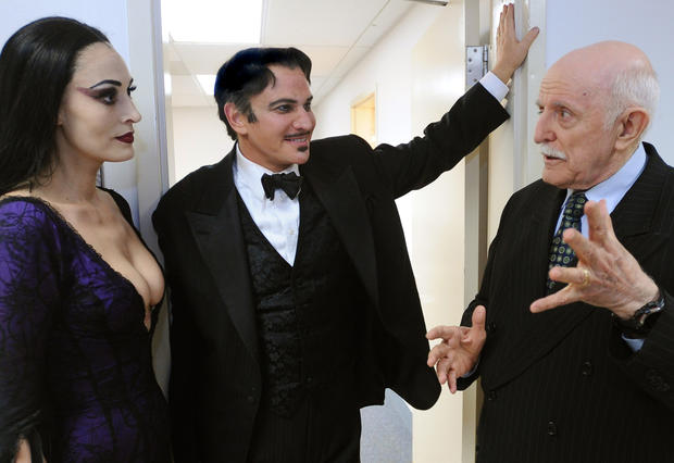 Sara Gettelfinger (Morticia) and Douglas Sills (Gomez Addams) with local actor and JHU professor John Astin, who played Gomez Addams in the '60s TV sitcom