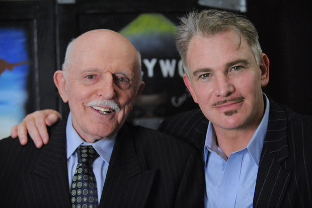 "John Astin, who originated the role of Gomez on TV's ""The Addams Family,"" and Douglas Sills, who plays the part in the touring production of ""The Addams Family"" playing at Baltimore's Hippodrome Theatre"