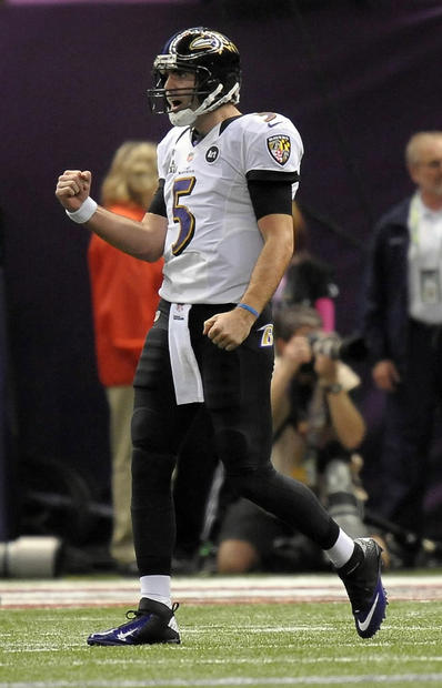 Joe Flacco reacts to his touchdown pass to Dennis Pitta.