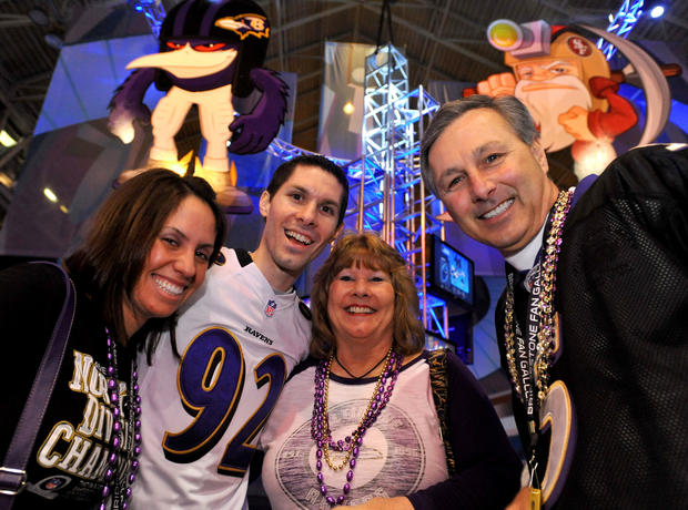 Ravens fans (L-R) Elizabeth Mogavero, her husband John Mogavero, Jr., Margie Mogavero and her husband John Mogaverro, Sr., from Bel Air, were at the NFL's Fan Experience in New Orleans.