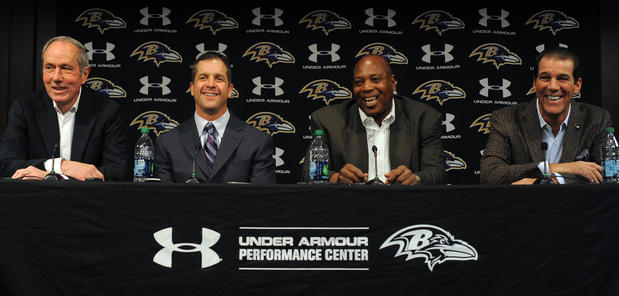 From left, Dick Cass, John Harbaugh, Ozzie Newsome and Steve Bisciotti take part in the Ravens' season-ending news conference.