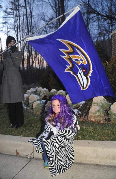 Lilly Antonelli, 7, of Catonsville, waits for the Ravens to arrive at The Castle.