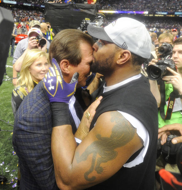 Ray Lewis kisses Ravens owner Steve Bisciotti after Baltimore won the Super Bowl.