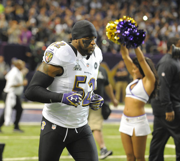 Ray Lewis takes the field for the Super Bowl.