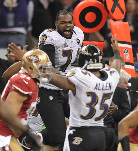 Michael Oher celebrates the Ravens' Super Bowl victory.