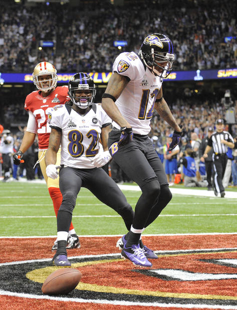 Jacoby Jones celebrates his second-quarter touchdown reception.
