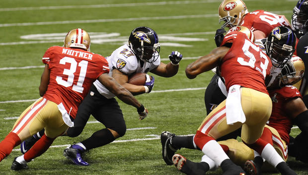 Ray Rice looks for running room in the second quarter.