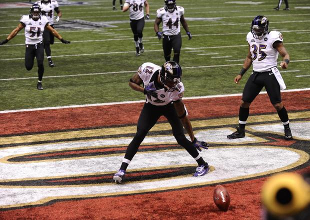 Jacoby Jones celebrates his 108-yard kickoff return for a touchdown.