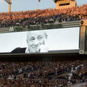 Art Modell on the video screen
